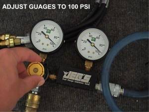 Adjust gauge s to 100 psi with the shutoff in the full quot off quot position